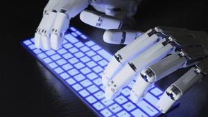 Robot Typing On Keyboard